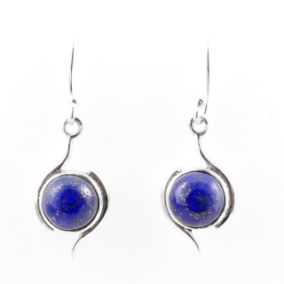 58017-02 STERLING SILVER 21 X 11 MM FISH HOOK EARRINGS WITH LAPIS LAZULI
