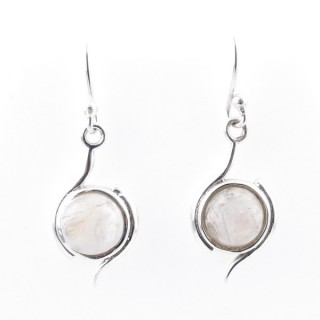 58017-05 STERLING SILVER 21 X 11 MM FISH HOOK EARRINGS WITH MOONSTONE