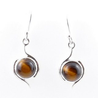 58017-11 STERLING SILVER 21 X 11 MM FISH HOOK EARRINGS WITH TIGER'S EYE