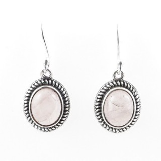 58018-01 STERLING SILVER 17 X 13 MM FISH HOOK EARRINGS WITH ROSE QUARTZ
