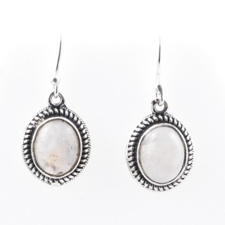 58018-05 STERLING SILVER 17 X 13 MM FISH HOOK EARRINGS WITH MOONSTONE