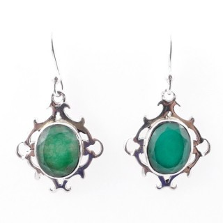58019-03 STERLING SILVER 20 X 17 MM FISH HOOK EARRINGS WITH EMERALD