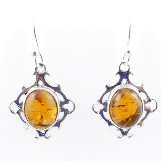 58019-12 STERLING SILVER 20 X 17 MM FISH HOOK EARRINGS WITH AMBER