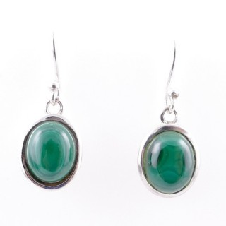 58020-10 STERLING SILVER 15 X 10 MM FISH HOOK EARRINGS WITH MALACHITE