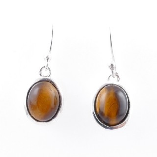 58020-11 STERLING SILVER 15 X 10 MM FISH HOOK EARRINGS WITH TIGER'S EYE