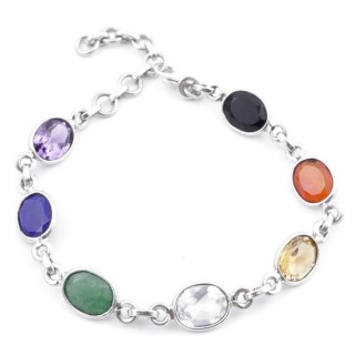 58300 STERLING SILVER 18 CM BRACLET WITH 7 CHAKRA GEMSTONES