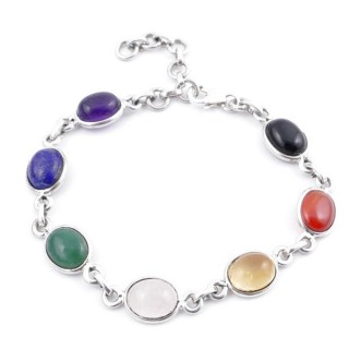 58301 STERLING SILVER 18 CM BRACELET WITH 7 CHAKRA STONES