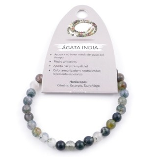 37615-35 PULSERA ELÁSTICA DE 6 MM EN PIEDRA NATURAL DE AGATA INDIA