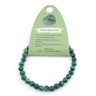 37615-06 ELASTIC 6 MM SYNTHETIC MALACHITE BRACELET
