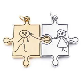 37846 DOUBLE STAINLESS STEEL TWO TONE 33 X 47 MM PUZZLE SHAPED PENDANT