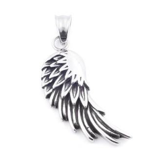 37807 STAINLESS STEEL WING SHAPED PENDANT 43 X 16 MM