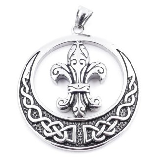 37858 ROUND STAINLESS STEEL 53 MM PENDANT WITH FLEUR DE LIS