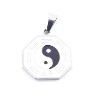 37841 STAINLESS STEEL 21 MM PENDANT WITH YIN & YANG