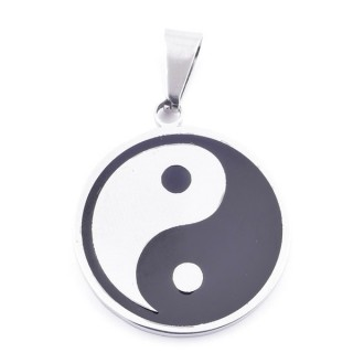 37840 STAINLESS STEEL 26 MM PENDANT WITH YIN & YANG