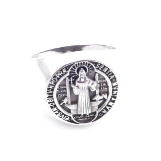 50138-19 STERLING SILVER SAINT BENEDICT 18 MM RING. SIZE: 19