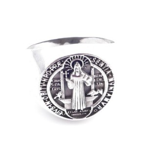 50138-21 STERLING SILVER SAINT BENEDICT 18 MM RING. SIZE: 21