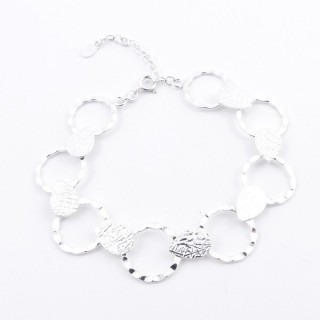 52049-01 STERLING SILVER 18 + 5 CM BRACELET WITH 15 MM RINGS