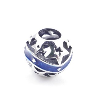 37954 SILVER 10 MM BALL SHAPED CHARM WITH STARS