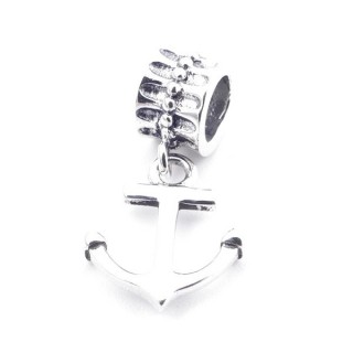 37956 SILVER TUBE BRACELET CHARM WITH ANCHOR 19 X 10 MM
