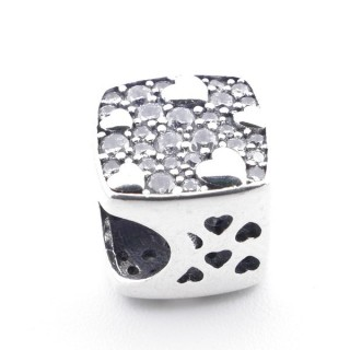 37961 SQUARE SHAPED SILVER BRACELET CHARM WITH ZIRCONS 9 X 9 MM