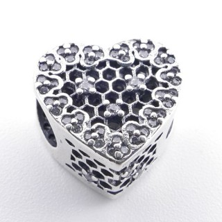 37968 HEART SHAPED SILVER BRACELET CHARM WITH ZIRCONS 10 MM