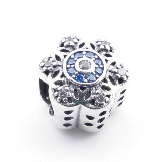 37973 STERLING SILVER 11 MM FLOWER SHAPED BRACELET CHARM WITH ZIRCONS