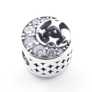 37974 SILVER 11 MM ROUND BRACELET CHARM WITH ZIRCONS