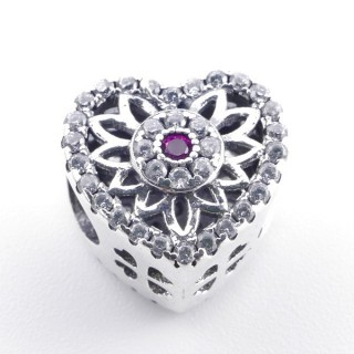 37980 HEART SHAPED SILVER BRACELET CHARM WITH ZIRCONS 11 MM