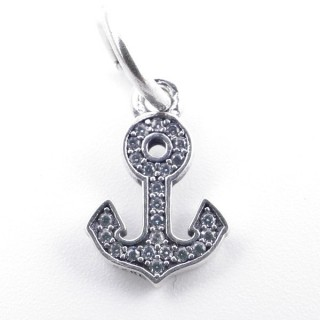 37982 ANCHOR SHAPED 12 X 8 MM SILVER & ZIRCON BRACELET CHARM