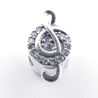 37983 STERLING SILVER & ZIRCON BRACELET CHARM WITH TREBLE CLEF