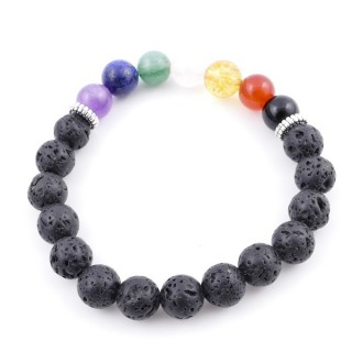 36303-06 LAVA AND 7 CHAKRA STONE 8 MM ELASTIC BRACELET