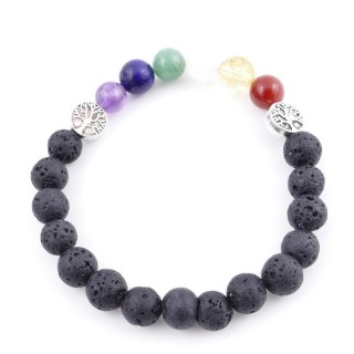 36303-11 LAVA AND 7 CHAKRA STONE 8 MM ELASTIC BRACELET