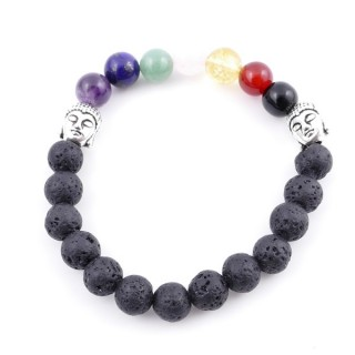36303-16 LAVA AND 7 CHAKRA STONE 8 MM ELASTIC BRACELET