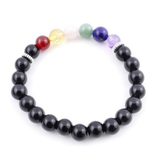 36303-07 ONYX AND 7 CHAKRA STONE 8 MM ELASTIC BRACELET