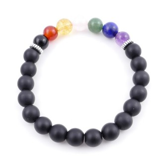 36303-08 SHUNGITE AND 7 CHAKRA STONE 8 MM ELASTIC BRACELET