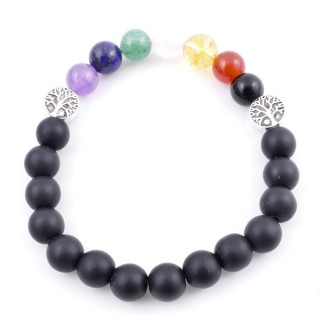 36303-13 SHUNGITE AND 7 CHAKRA STONE 8 MM ELASTIC BRACELET