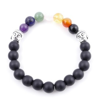 36303-18 SHUNGITE AND 7 CHAKRA STONE 8 MM ELASTIC BRACELET