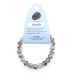 37624-58 ELASTIC NATURAL STONE 8 MM BRACELET: AGATE