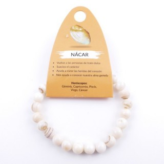 37624-59 ELASTIC NATURAL STONE 8 MM BRACELET: MOTHER OF PEARL