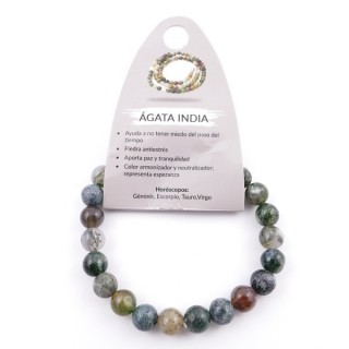 37624-35 PULSERA ELÁSTICA DE PIEDRA NATURAL DE 8 MM: ÁGATA INDIA