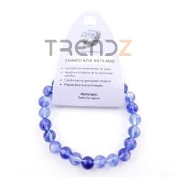 37624-51 ELASTIC NATURAL STONE 8 MM BRACELET: RUTILE BLUE QUARTZ