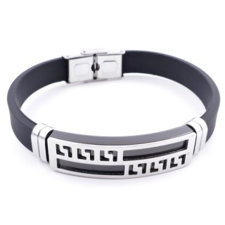37402-01 ADJUSTABLE RUBBER AND STAINLESS STEEL BRACELET