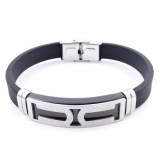 37402-02 ADJUSTABLE RUBBER AND STAINLESS STEEL BRACELET