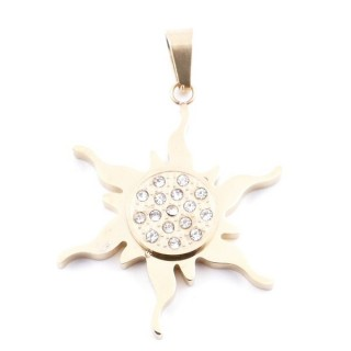 37736 SUN SHAPED STAINLESS STEEL 31 M PENDANT IN GOLD COLOUR