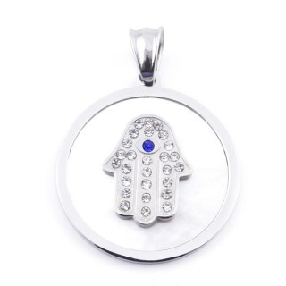 37739 STAINLESS STEEL MOTHER OF PEARL PENDANT WITH HAMSA 30 MM