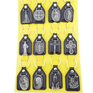 37397-01 SET OF 12 PU LEATHER KEYCHAINS WITH RELIGIOUS SYMBOLS