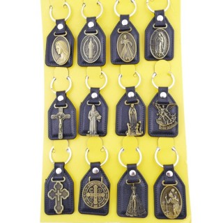 37397-02 SET OF 12 PU LEATHER KEYCHAINS WITH RELIGIOUS SYMBOLS