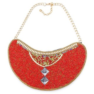 25117-06 BIB NECKLACE MADE WITH VARIOUS EMBELLISHMENTS ON SALE