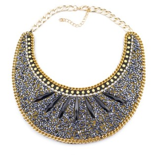 25117-10 BIB NECKLACE MADE WITH VARIOUS EMBELLISHMENTS ON SALE