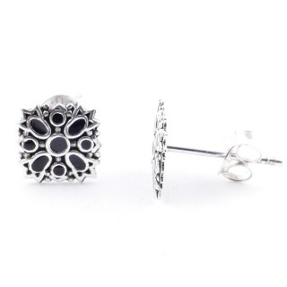 52047-02 STERLING SILVER 8 X 8 MM EARRINGS WITH EPOXY